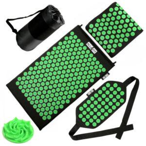 mata z kolcami all4fit akumata do akupresury z poduszką i pasem zielona